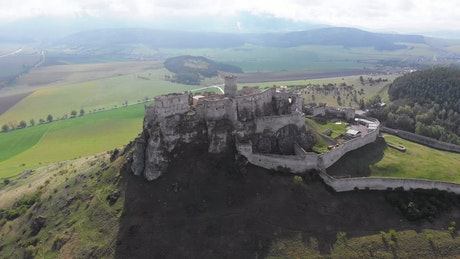 Flying over historic medieval castle