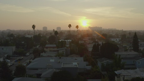 Flying over Venice, California at sunset