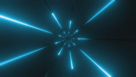Flying through a blue futuristic tunnel