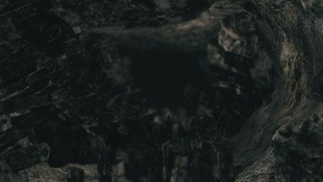 Flying through a dark cave