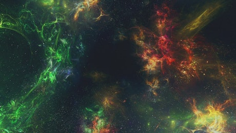 Flying through beautiful multicolored nebulas