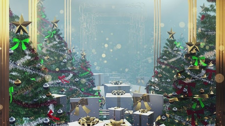 Flying through Christmas decorations and gifts, 3D render