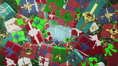 Flying through different Christmas gift boxes