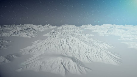 Flying through frozen mountains on a planet, 3D