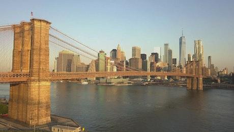 Flying toward the Brooklyn Bridge in New York