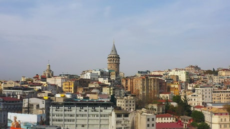 Flying towards the Galata Tower