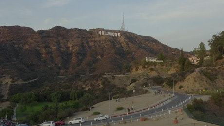 """Flying towards the """"Hollywood"""" sign in California"""