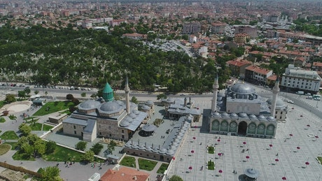 Flying upwards above a Mosque