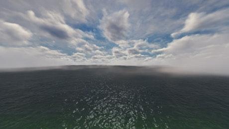 Fog on a tour over the sea