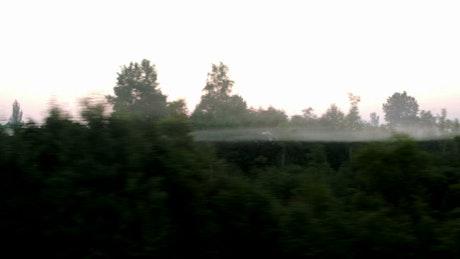 Fog outside the train window