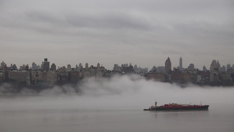 Fog sweeping across the ocean