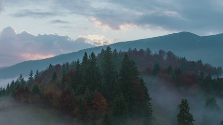 Foggy autumnal sunrise in the mountains