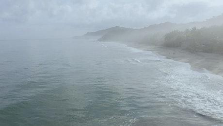 Foggy ocean landscape