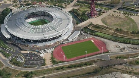 Football stadium aerial shot