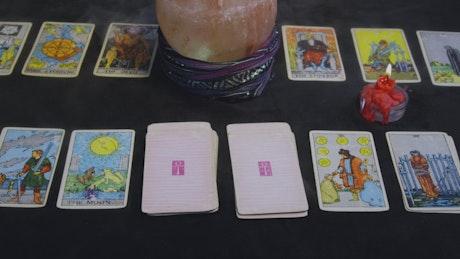 Fortune reader preparing cards