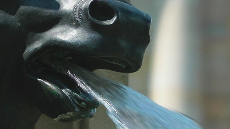 Fountain in the shape of an animal sculpture, close up