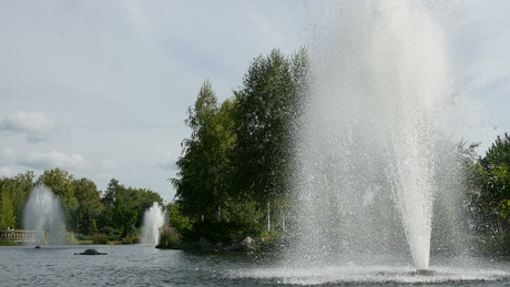 Fountains in the lake
