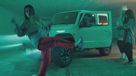 Four urban dancers dancing hip hop