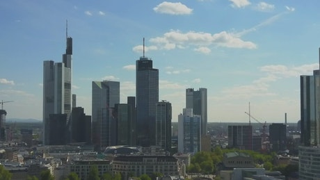 Frankfurt Am Main skyline, aerial shot