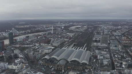 Frankfurt train station from the air