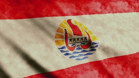 French Polynesia flag, 3D animation