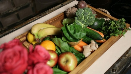Fresh fruit and vegetables in a tray