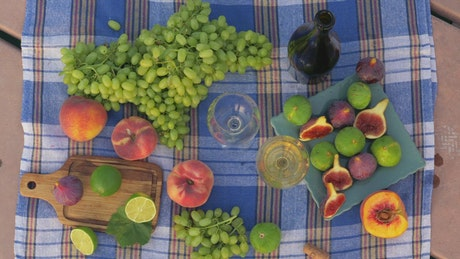 Fresh fruit and wine for lunch