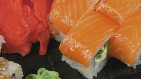 Fresh salmon sushi, close up