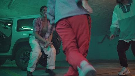 Friends dancing happily hip hop