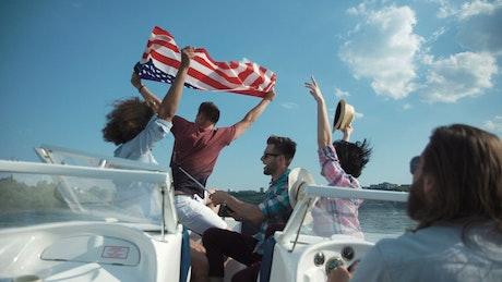 Friends having fun on a speedboat