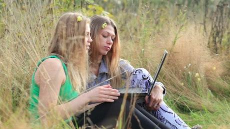 Friends using a laptop in a field