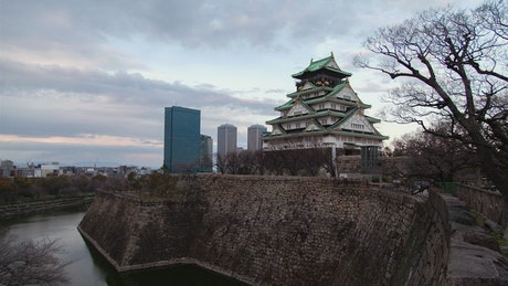 From day to night Osaka castle