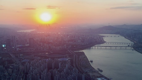 From sunset to night Seoul cityscape