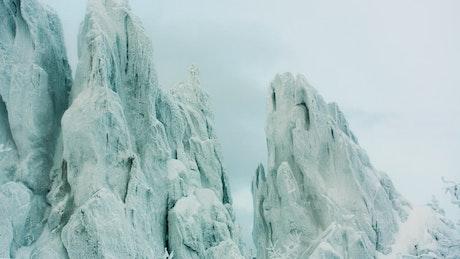 Frozen forest deep in snow