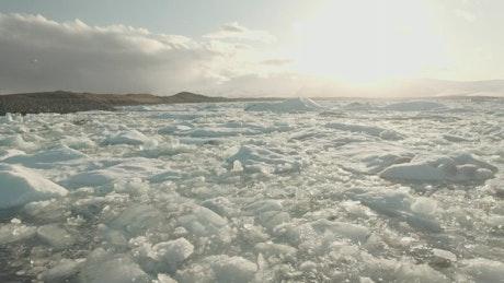 Frozen lake in the sun