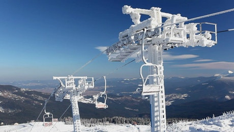 Frozen ski resort in the mountains