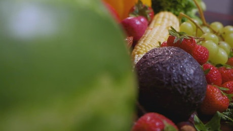 Fruits and vegetables of many kinds, close up