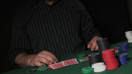 Frustrated player at a Poker table