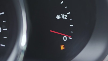 Fuel meter on a car dashboard