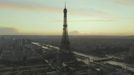 Full aerial shot of the Eiffel Tower in Paris