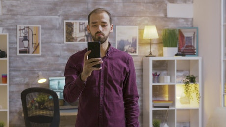 Future man uses mobile voice input to turn off lights