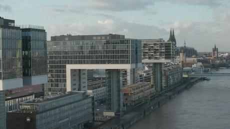 Futuristic city by a river