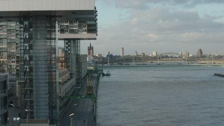 Futuristic design buildings along a river