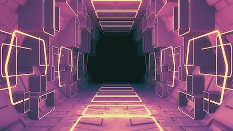 Futuristic hall, 3D render