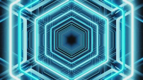 Futuristic luminous tunnel in the shape of a hexagon