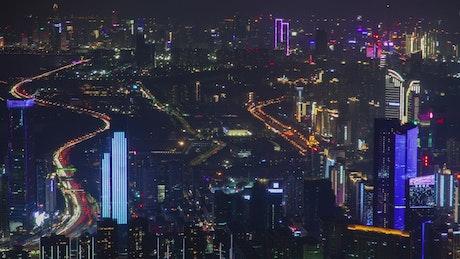 Futuristic Shenzhen skyscrapers at night