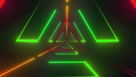 Futuristic triangle tunnel with neon laser lights