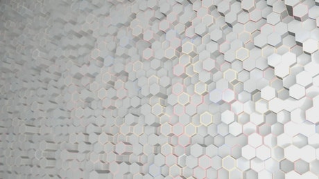 Futuristic wall with abstract white hexagons