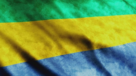 Gabon 3D flag, African country