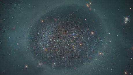 Galaxies in space with a video of a liquid in double exposure